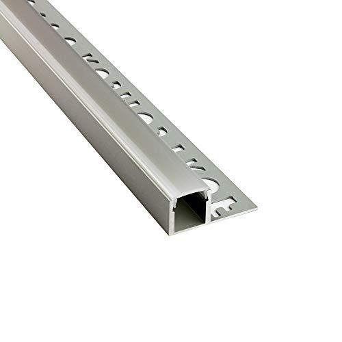 LED Aluprofil T77 silber 12mm Fliesenprofil + Abdeckung Abschlussleiste Bordüre Fliesen für LED-Streifen-Strip 2m opal