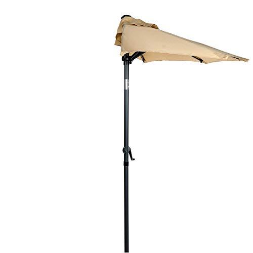 Butlers Siesta Sonnenschirm halbrund in Beige - Halbschirm mit Kurbel - Gartenschirm, Terrassenschirm, Balkonschirm