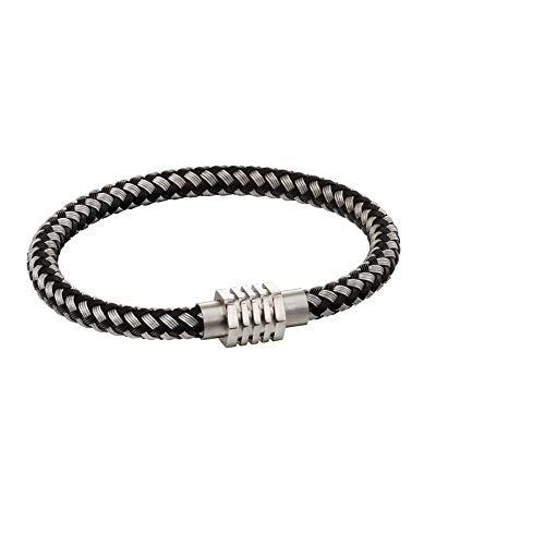 Metal tube woven bracelet with hexagon clasp