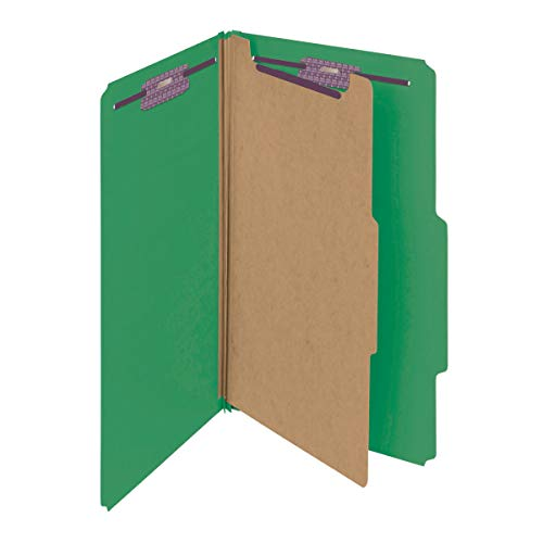 """Smead Pressboard Classification File Folder with SafeSHIELD Fasteners, 1 Divider, 2"""" Expansion, Legal Size, Green, 10 per Box (18733)"""