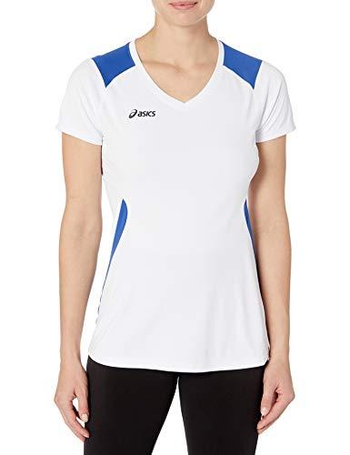 ASICS Damen Set Jersey kurzärmelig, Weiß/Königsblau, Small