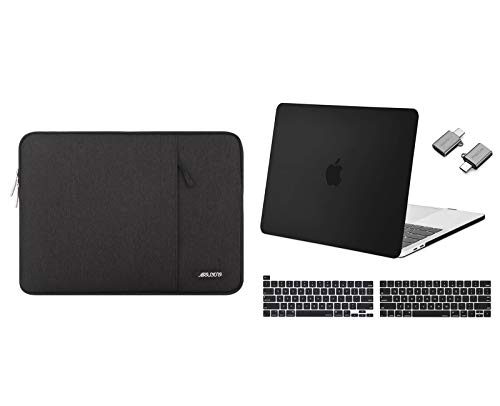MOSISO Plastic Hard Shell Case&Laptop Sleeve Bag&Keyboard Cover Skin&Type C Adapter Compatible with 2020 2019 2018 2017 2016 MacBook Pro 13 inch A2338 M1 A2289 A2251 A2159 A1989 A1706 A1708, Black