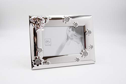 Mascagni 2GC M980 Bilderrahmen, für Babys, silberfarben, mit Swarovski-Kristallen, Rosa, Foto-Größe 10 x 15 cm, Metall, 17 x 22 x 1,5 cm