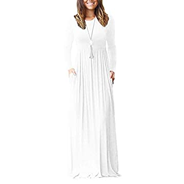 VIISHOW Women's Long Sleeve Loose Plain Empire Waist Maxi Dresses Casual Long Dresses with Pockets