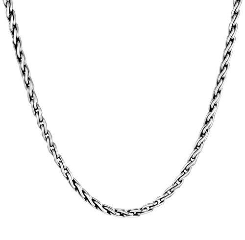 Kuzzoi Exclusivo collar para hombre con diseño de eslabones trenzados (5 mm), cadena de eslabones redondos para hombre , cadena maciza para colgante de plata de ley 925, longitud 50 cm