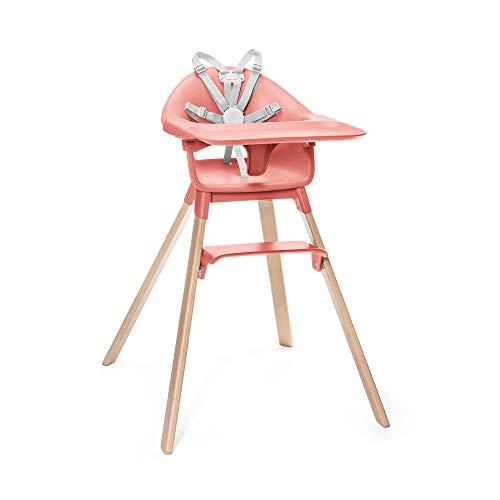STOKKE® Clikk™ Chaise Haute pour enfant - Chaise haute pour Bébé évolutive, réglable 3 en 1, de 6 mois à 3 ans – Couleur: Sunny Coral