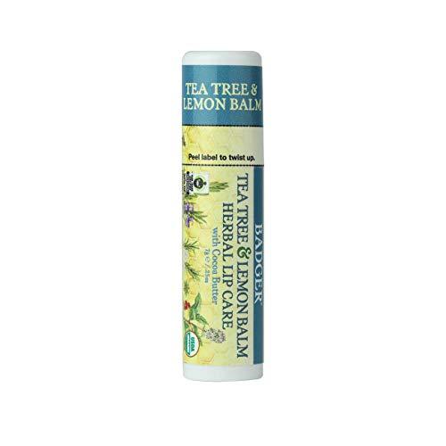 Badger - Herbal Lip Balm with Cocoa Butter, Tea Tree & Lemon, Certified Organic Lip Balm, Fair Trade, Natural Lip Balm, Lip Butter, Lip Balm Cocoa Butter, Herbal Lip Care, 0.25 oz