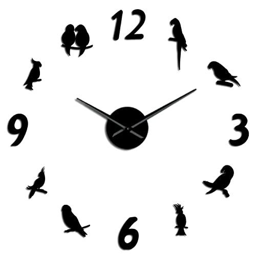 hufeng Reloj de Pared acrílico Espejo Pegatinas de Pared cacatúa DIY Reloj de Pared pájaro Tropical Arte de Pared ornitología Negro 47 Pulgadas