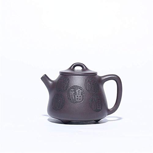 ADSE Tea Maker Pot Teapot Hand-Five Stone Scoop Pot Tea Cup Purple Clay Teapot Kung Fu Tea (Color : Purple mud)