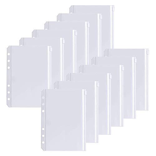 FYY Dokumententasche A5,12 Stücke A5 Größe 6 Löcher Binder Taschen Durchscheinende Kunststoff Binder Reißverschluss Mappe Wasserdichter PVC Taschen für A5 6-Ring-Notebook Binder Dokumententasche