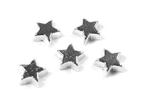 Vintageparts Glasmedaillon Einleger Stern in silberfarben platiniert 8 Stk