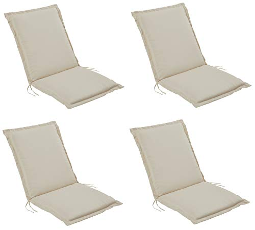 Pure Home & Garden 4er Set Niederlehner Gartenstuhl Auflagen Cream, Made IN Europe, 100 x 50 x 6 cm