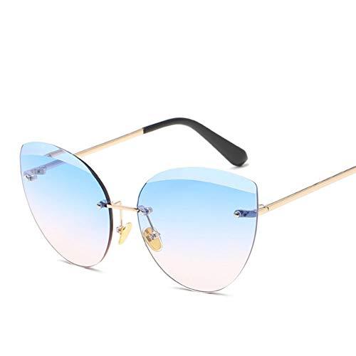 Wenkang Gafas de Sol de Las Mujeres Lentes del océano Moda sin Montura Gafas de Sol Señoras Ojo de Gato Gafas de Sol de Gran tamaño Mujer,5