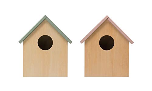 Creative Co-op Decorative Wood Birdhouse with Hinged Roof (Set of 2 Colors) Storage, Multicolor, 2 Count