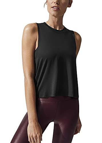 Bestisun Womens Cropped Workout Tops Flowy Tennis Yoga Shirts Loose Athletic Wear Workout Muscle Tank High Neck Crop Tops Black XL