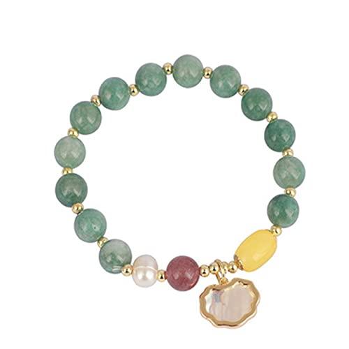Concha piedra Natural verde Jade colgante moda Retro Vintage novia pulsera chica pulsera circunferencia 19 Cm
