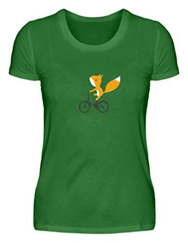 Shirtzshop - Maglietta Organica da Donna con Scoiattolo sulla Bicicletta Kelly Verde XL