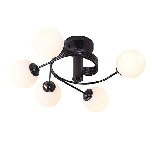 5 Luz Elegante Lámpara De Techo,E27 Hierro Arte Plafón Para Esmerilado Terminar Montaje Empotrado Retro Iluminación Colgante Para Cocina Dormitorio Salón-Negro. 5 luz