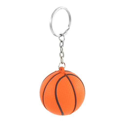 SODIAL(R) Orange Basketball Form Sport Stressball-Verbindungs-Ketten-Schluesselring
