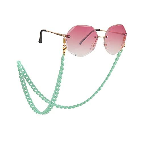 Amaxer Cadena de gafas de acrílico de moda para mujer con cordón para gafas de lectura gafas de retención de gafas de sol cadena correa para el cuello cierre de langosta para mujer, Cian claro.,
