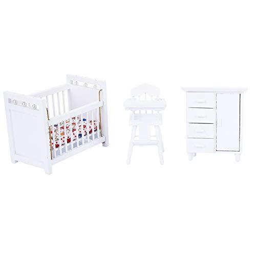 Puppenhauszubehör, 1:12 Kinderzimmer Simulationsmöbel 3St./Set Holzminiaturmöbel Puppenhausdekoration Zubehör