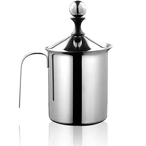 Montalatte in acciaio palmare Manuale Montalatte Doppia maglia della gomma piuma Mixer, in acciaio inox pompa a mano della Montalatte, Manuale Operated Schiuma di latte e caffè, for cappuccino e caffè