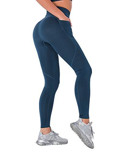 SHAPERIN Pantalones de compresión anticelulitis, para mujer, cintura alta, pantalones de yoga, pantalones de correr, pantalones para correr para fitness #5 azul S
