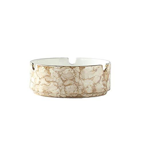 HOPUBO Cenicero de cerámica Blanca para el hogar, patrón de mármol de Textura pequeña y Exquisita, Decoraciones para el hogar Adornos de Mesa de Comedor (Color : Brown)