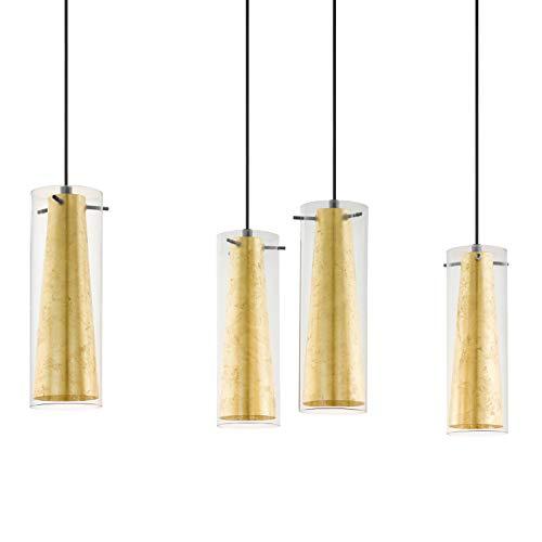 EGLO Pendellampe Pinto Gold, 4 flammige Pendelleuchte, Material: Stahl, Farbe: schwarz, Glas: klar, gold, Fassung: E27