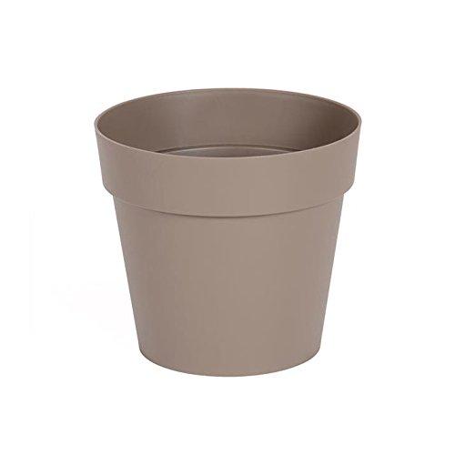 EDA Plastiques - Pot de Fleur - Pot de Fleur Toscane Ø 15 x 13,6 cm Rond - 1,6L Taupe
