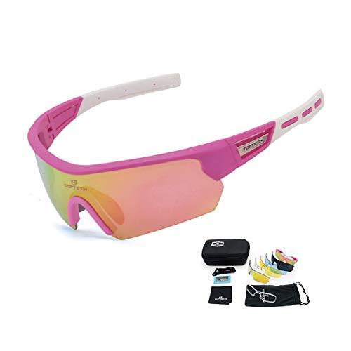 TOPTETN Fahrradbrille Polarisierte Sonnenbrille, UV400-Schutz Sportbrille für Herren und Damen, Radbrille mit 5 Wechselobjektiven und Etui für Radsports, Baseball, Laufen Sportsonnenbrille (Pink)