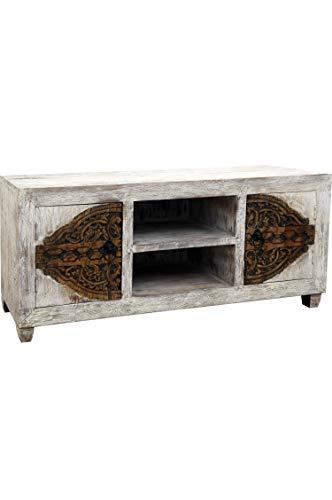 Aswa Oriëntaals lowboard televisiemeubel 150 cm | Marokkaanse vintage tv-tafel smal | Oosterse kasten van massief hout voor de hal, slaapkamer, woonkamer of badkamer