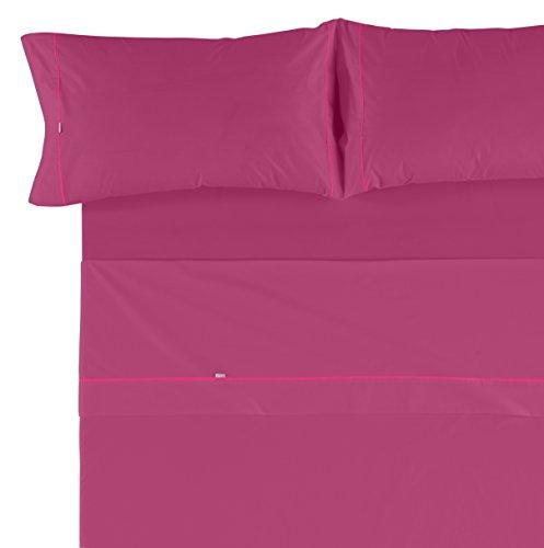 Es-Tela - Juego de sábanas liso con biés, color fucsia, cama de 150 cm (2 almohadas), algodón-poliéster, 4 piezas