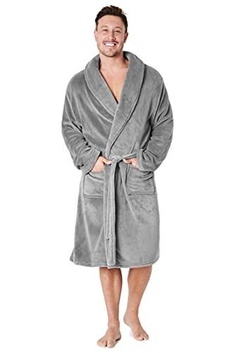 CityComfort Robe de Chambre Homme Polaire Chaude Peignoir Homme Doux (Gris, XXL)