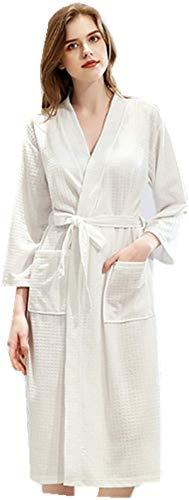 Dressing Gown Long Sleeve Women's Bathrobe Unisex Soft Cotton Plain Sleepwear with Pockets V-Neck Pyjamas Loungewear Robe for Men and Women - White - L