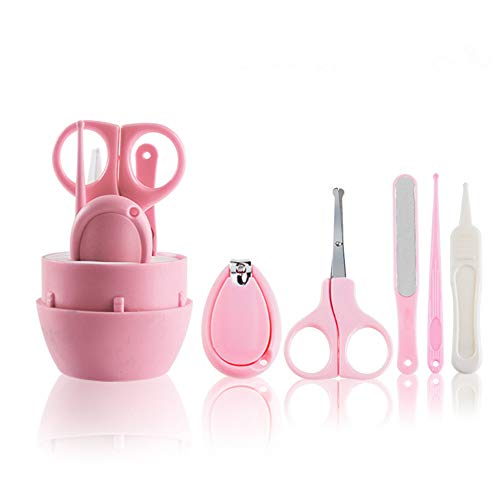 Baby Manicure Kit, Uneeber 5-in-1 Baby Nail Care Set, Safe Baby Nail Clipper, Scissor, File & Tweezer, Baby Nail Care Kit for Newborn, Infant & Toddler (Pink)