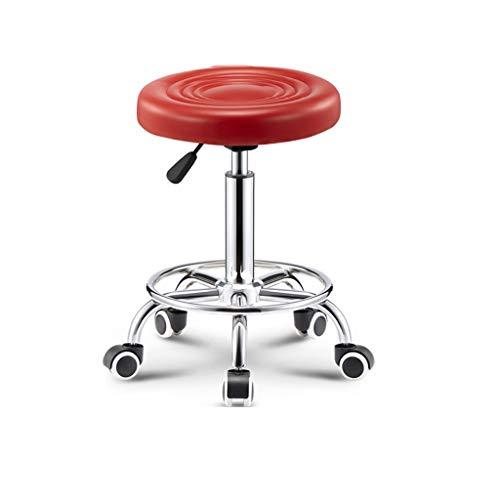 Taburete de peluquería, altura ajustable con ruedas, taburete de bar, uso en el hogar, cocina, comedor, mostrador, banco de trabajo de oficina (color: rojo, tamaño: 47-62 cm)