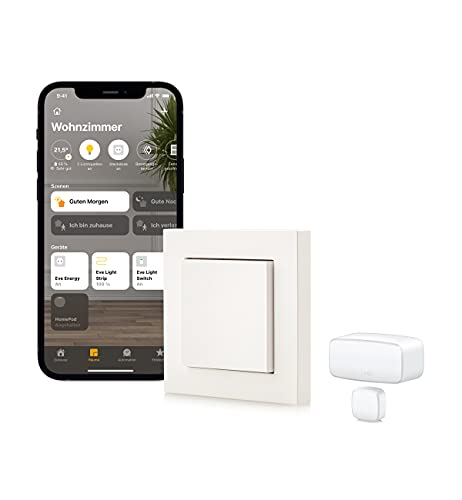 Eve Thread Starter Kit de control de luz - Interruptor de luz inteligente Eve Light Switch y sensor de contacto Eve Door & Window, no requiere puente (Apple HomeKit, Bluetooth/Thread)