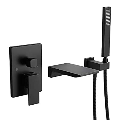 Weibath Waterfall Wall Mount Bathtub Faucet with Handshower Bathroom Solid Brass Tub filler Faucet in Matte Black