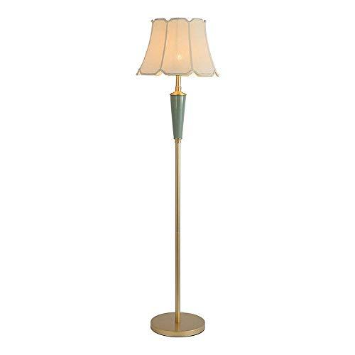 FWZJ Lámpara de pie Vintage Dorada, lámpara de pie LED de Metal Antiguo con Pantalla de Tela, Enchufe E27, Interruptor de pie, máx.40 W, 153 cm, lámpara de pie clásica para Sala de Esta