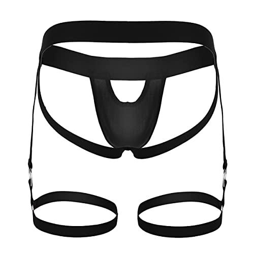 IEFIEL Lencería Hombre Sexy Tanga con Liga Slips Calzoncillos Abiertos Bóxer para Hombre Underwear Negro L