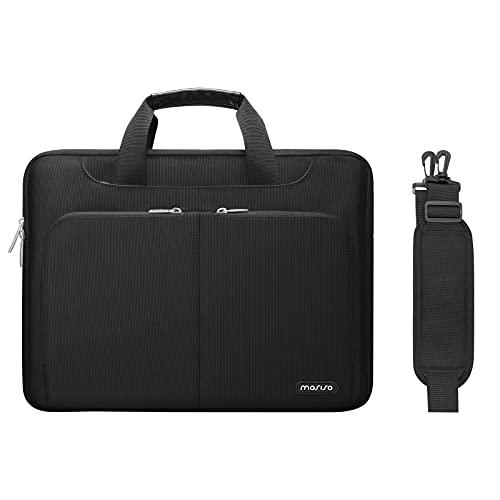 MOSISO 360 Funda Protectora compatible con MacBook Pro 16 A2141/Retina 15 A1398,15-15,6 Pulgadas Portátil,Maletín de Poliéster con 2 Mismos Bolsillos Organizadores Frontales y Cinturón de Carro, Negro