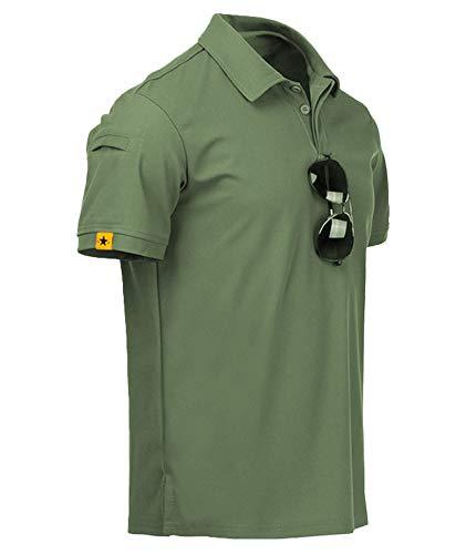 GEEK LIGHTING Mens Polo Shirt Quick-Dry High Moisture Wicking Short Sleeve Sports Golf Tennis T-Shirt Green-XL