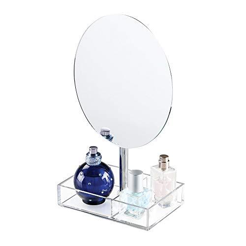InterDesign Luci espejo redondo joyero| Con 2 compartimentos para maquillaje, bisutería, etc. | Espejo joyero de pie en plástico transparente