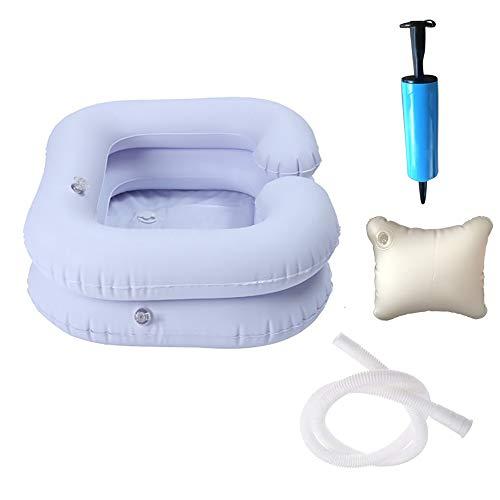DEDC Juego de Lavabos Inflables para Lavar El Cabello, Lavabo de Champú Portátil Baño de Cama Ayuda Auxiliar Asistida para Discapacitados, Ancianos, Pacientes Encamados, Embarazadas