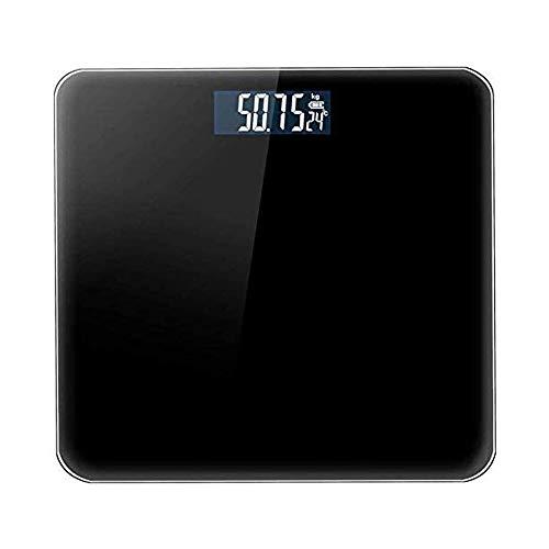 Qin Báscula Digital, Inteligente Escala de Grasa Corporal Bluetooth, Escala Circular electrónica Peso Digital Diseño de medición con Pantalla retroiluminada (Color : A)