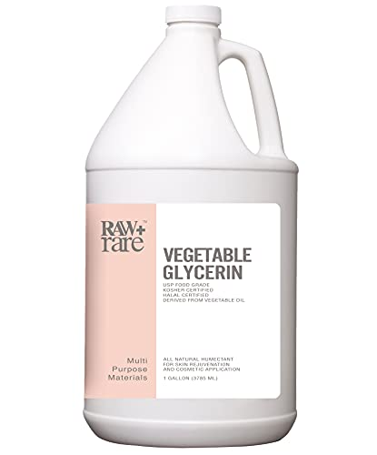 Vegetable Glycerin/Glycerine Bulk Gallon (128 fl oz.) Natural USP Food Grade/Cosmetic Grade, For Skin, Hair, Crafts, Soap Base Oil - Kosher, Halal and Pharmaceutical by Raw Plus Rare, Packaging Varies