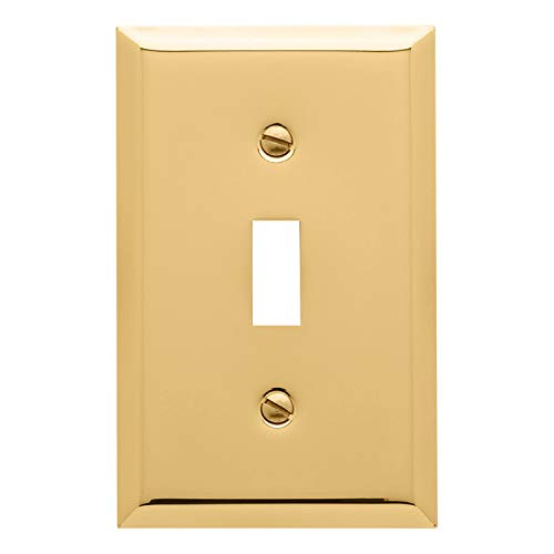 Baldwin Estate 4751.030.CD Square Beveled Edge Single Toggle Switch Wall Plate in Polished Brass, 4.5