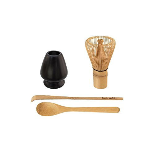 BambooMN Brand - Matcha Green Tea Whisk Set - Whisk + Scoop + Tea Spoon + Black Whisk Holder