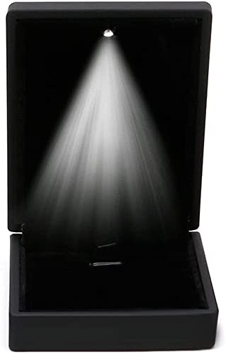 CWT - Caja de collar con luz LED de goma + estuche colgante de felpa para exhibición de joyas de boda, regalo del día de San Valentín (rojo) (color: negro)